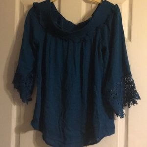 INC International Concepts teal top, size M